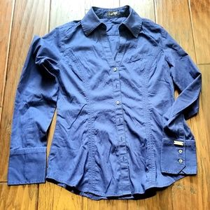 Express Essential Stretch Long Sleeve Button Up